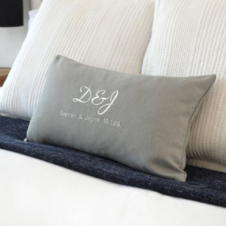 Personalised Metallic Silver Embroidered Cushion
